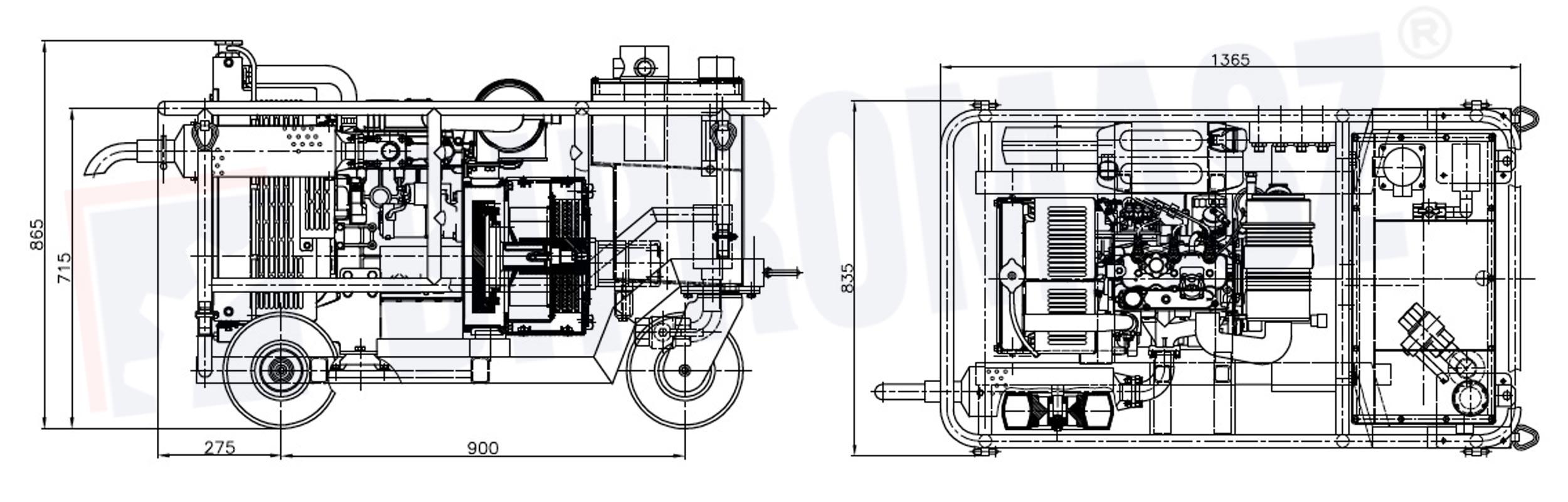 Hydrauliczny Agregat Spalinowy HAS-18 produkcji firmy Bipromasz - wymiary
