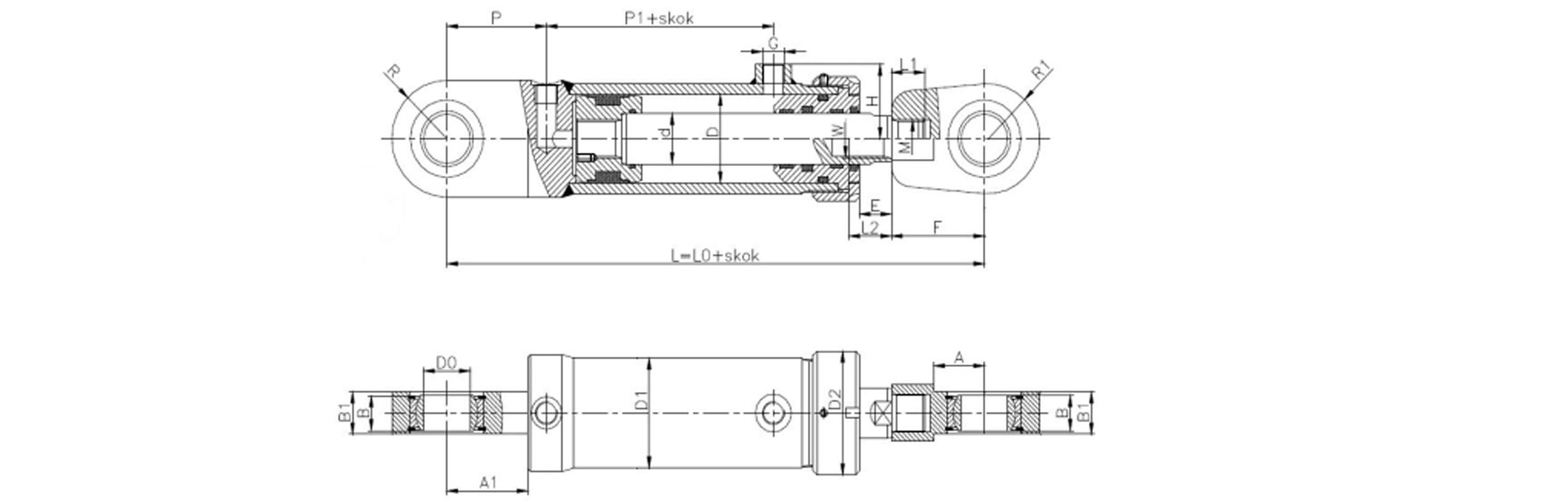 Siłownik hydrauliczny dwustronnego działania CB produkcji Bipromasz - Wymiary