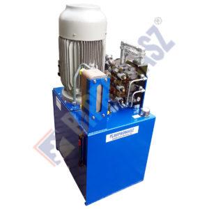 Agregat hydrauliczny z silnikiem elektrycznym 22kW z pompą wielotłoczkową zmiennego wydatku wyposażoną w regulator LS oraz z zaworem przelewowym proporcjonalnym R4V06 oraz z wodną chłodnicą oleju ASA PL-40-50 i blokiem rozdzielaczy 3xD41/NG16