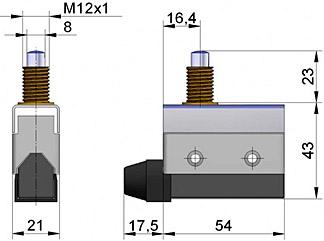 Wymiary czujnika mechanicznego otwarcia dla zaworów motylkowych