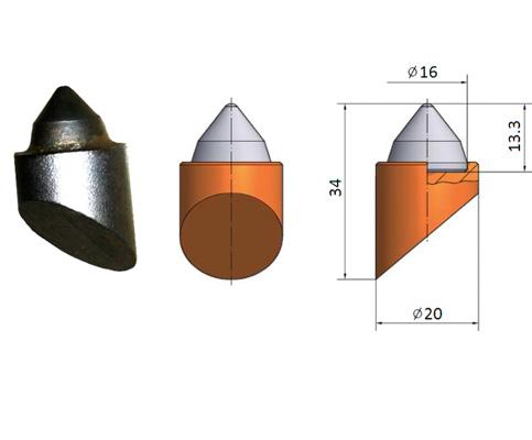 Zęby widiowe i elementy trudnościeralne spawane do narzędzi wiertniczych