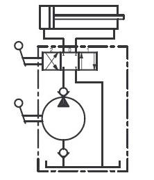 Schemat hydrauliczny pompy ręcznej dwustronnego działania PBD