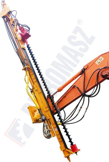 Osprzęt wiertniczy koparkowy masztowy typu OKM-100 - mikropale wiercone świdrem ciągłym ślimakami przelotowymi