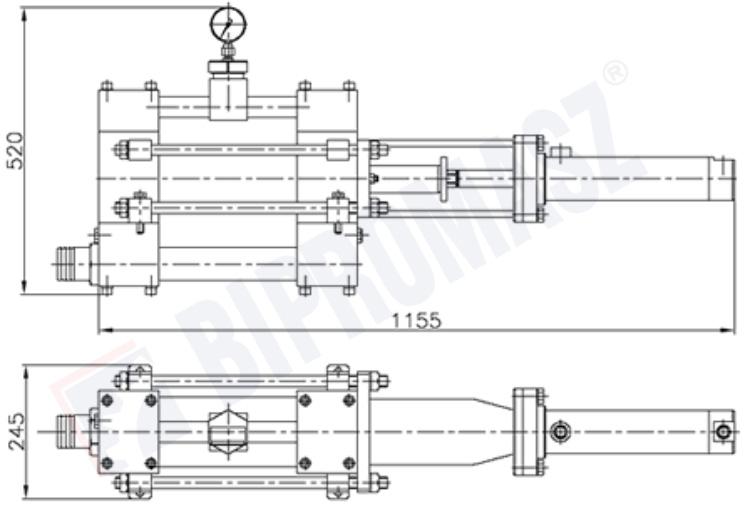 Rysunek techniczny - pompa tłokowa iniekcyjna PTI-100