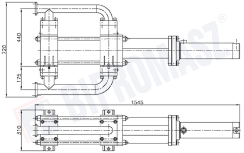 Rysunek techniczny - pompa tłokowa iniekcyjna PTI-150