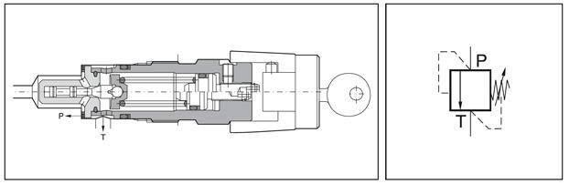 Zawory przelewowe sterowane bezpośrednio EVSA Parker - rysunek