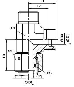 EL Przyłączka trójnikowa niesymetryczna z nakrętką obrotową - rysunek