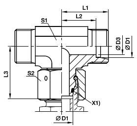 ET Złączka trójnikowa z nakrętką obrotową - rysunek
