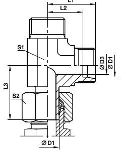 EVL Przyłączka trójnikowa niesymetryczna z końcówką rurową - rysunek