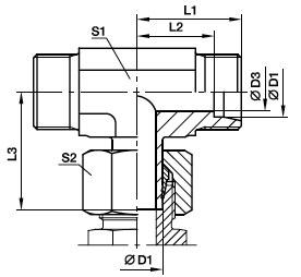 EVT Przyłączka trójnikowa nastawna z końcówką rurową - rysunek