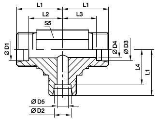 TR Złączka trójnikowa redukcyjna - rysunek