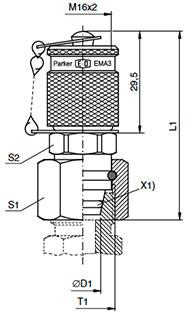 VKA3 Przyłączka pomiarowa dla gniazd stożkowych z połączeniem gwintowym M 16x2 - rysunek