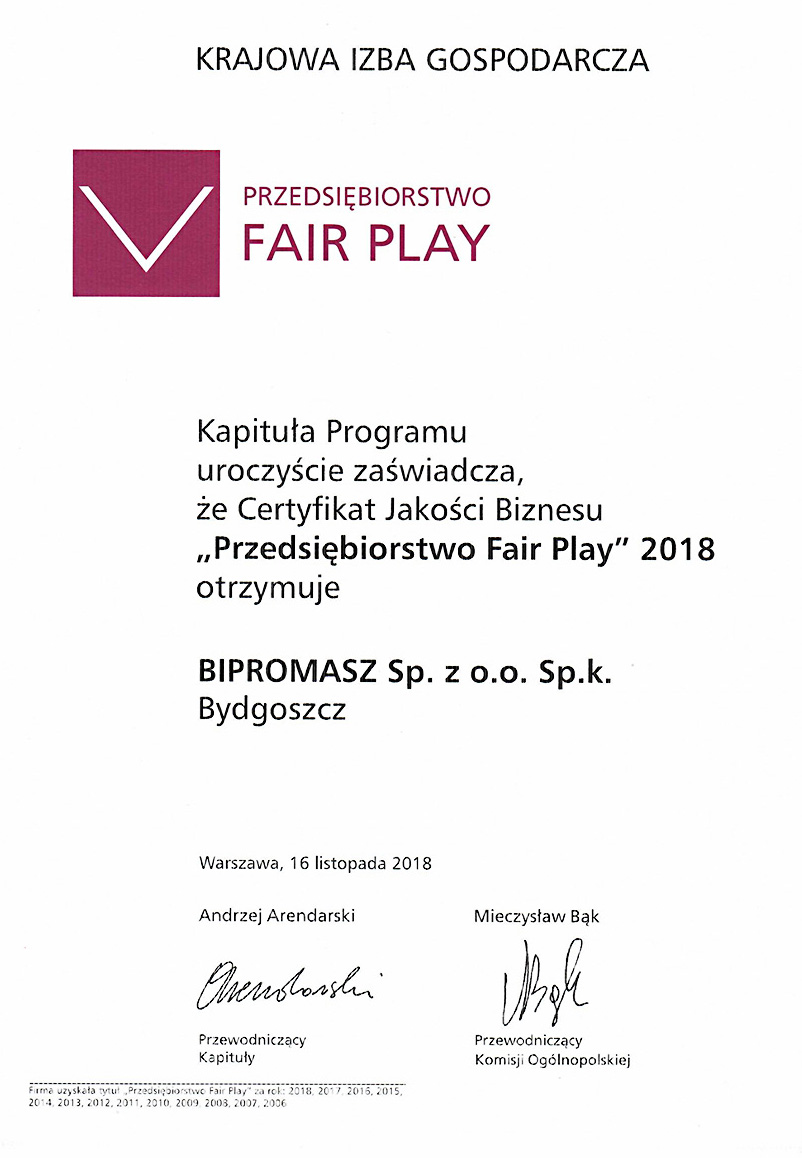 """Bipromasz wiodący lider w produkcji wiertnic pionowych i wiertnic poziomych w Polsce ponownie """"Przedsiębiorstwem Fair Play""""!"""