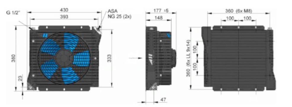 Powietrzna chłodnica oleju hydraulicznego ASA-0115 12VDC 24VDC - wymiary