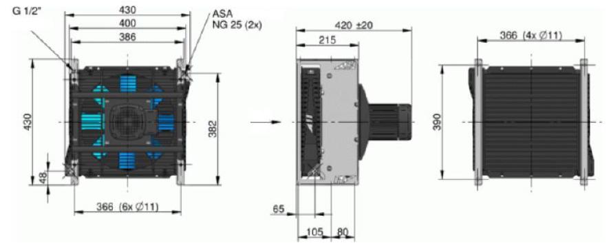 Powietrzna chłodnica oleju hydraulicznego ASA-0115 230/400VAC - wymiary
