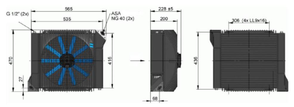 Powietrzna chłodnica oleju hydraulicznego ASA-0177 - wymiary