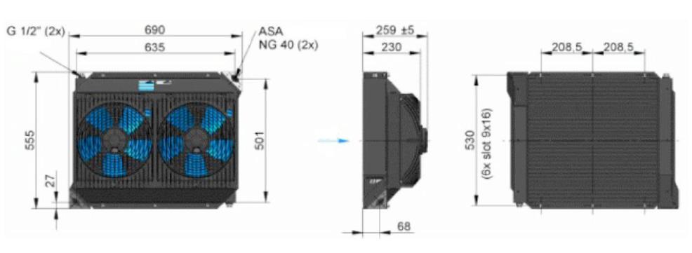 Powietrzna chłodnica oleju hydraulicznego ASA-0257 - wymiary