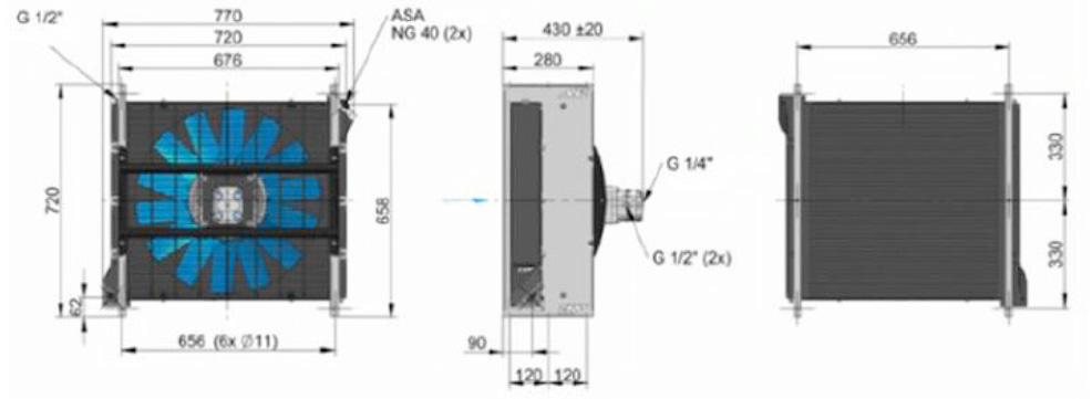 Powietrzna chłodnica oleju hydraulicznego ASA-0367 – silnik elektryczny 11 cm3 – 2000 obr/min - wymiary