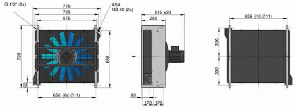 Powietrzna chłodnica oleju hydraulicznego ASA-0367 – silnik elektryczny 230/400V 50Hz - wymiary