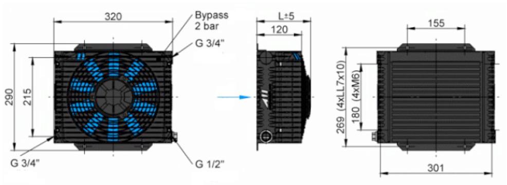Powietrzna chłodnica oleju hydraulicznego ASA-TT06 - wymiary