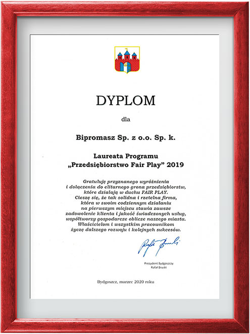 dyplom prezydent miasta Bydgoszczy FairPlay 2019 dla Bipromasz