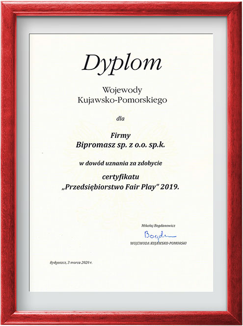 dyplom wojewody kujawsko-pomorskiego FairPlay 2019 dla Bipromasz