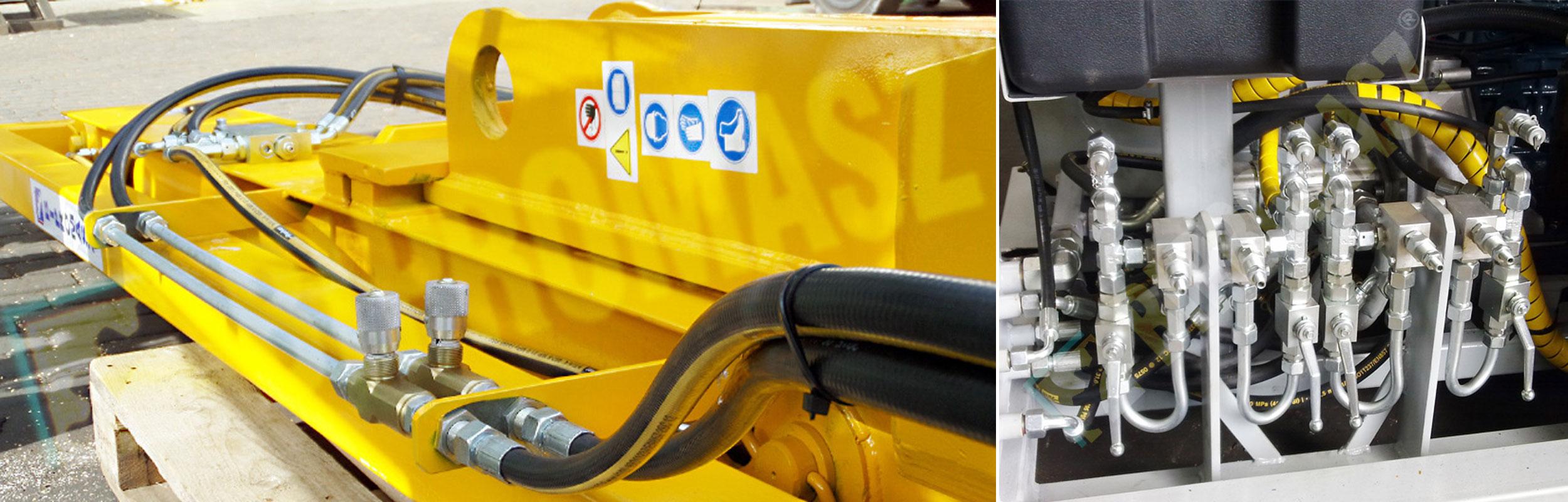 Instalacje hydrauliczne na maszynach i obiektach przemysłowych produkcji firmy Bipromasz