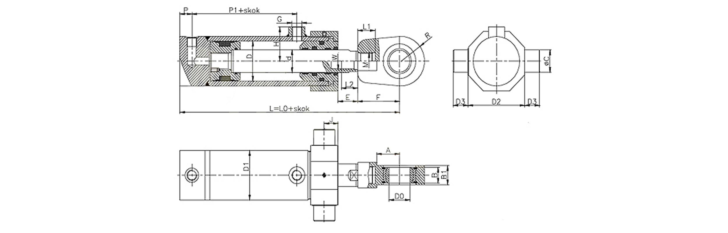 Siłownik hydrauliczny dwustronnego działania CP produkcji firmy Bipromasz - wymiary