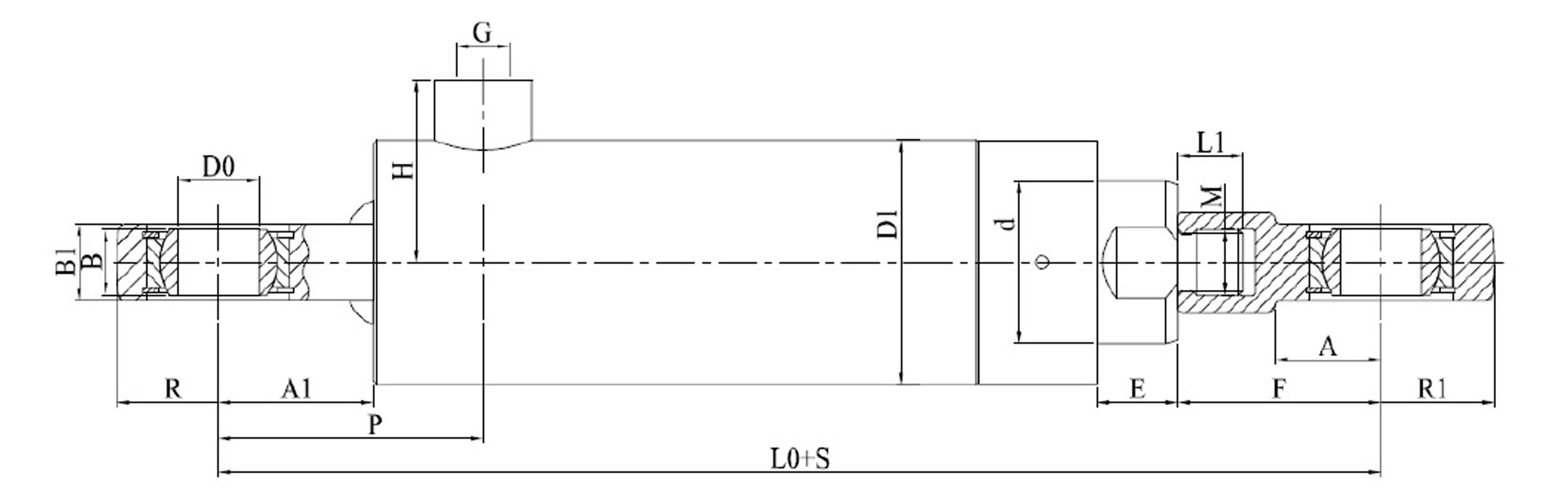 Siłownik hydrauliczny jednostronnego działania CBN produkcji firmy Bipromasz - wymiary