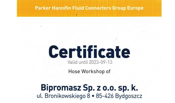 Certyfikacja międzynarodowa PARKER dla nowoczesnego stanowiska produkcji przewodów hydraulicznych Bipromasz